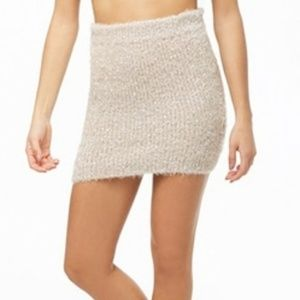 Forever 21 Peach Silver Fuzzy Short Skirt
